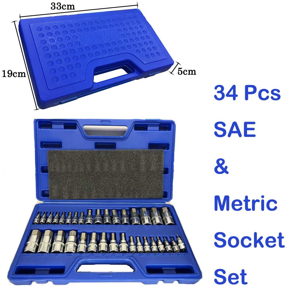 "Master Hex Bit Socket Set 34Pcs SAE & Metric Socket Standard Allen 1/4"" 3/8"" 1/2"""