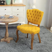 Accent French Furniture Classic Tufted Yellow Fabric Dining Chair
