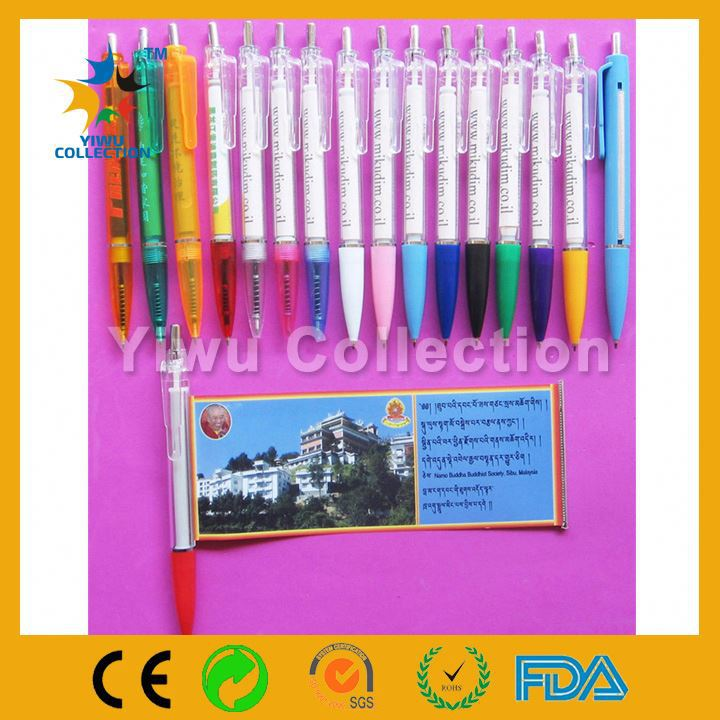 banner pen xiamen,plastic advertising pull out pen,promotional ballpoint pen