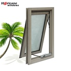 Custom brown double insulated thermal break cheap aluminum double awning type window for sale