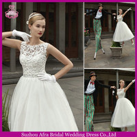 SD1056 sheer top round high neck short wedding gown elegant lace tea length wedding dresses