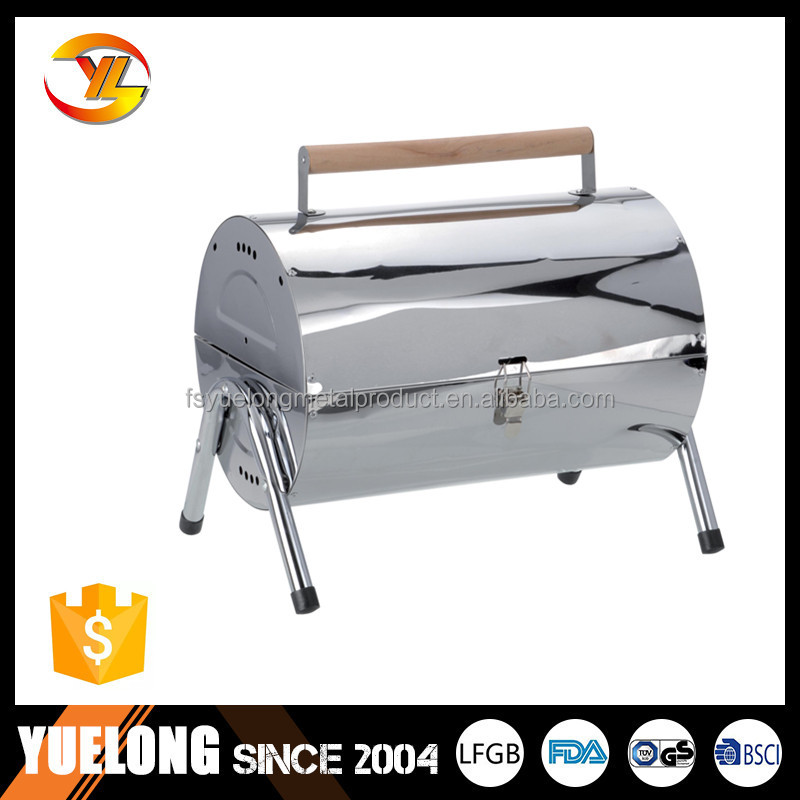 Outdoor Charcoal bbq grill Steel double barrel for camping