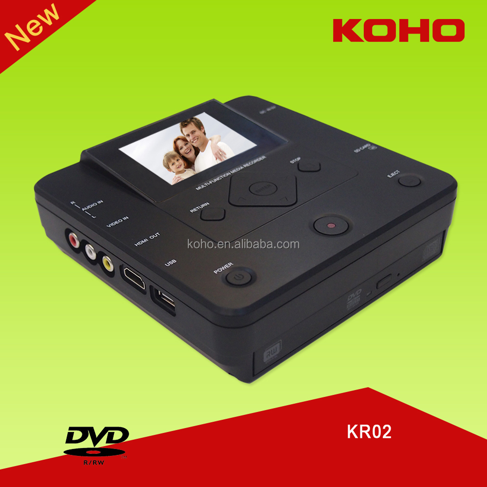 burn mp4 mpg vob compact size portable koho dvd recorder with hdmi
