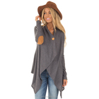 V Neck Patch Decoration Asymmetric Design Long Sleeve Coat