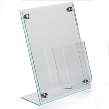 8.5 x 11 Clear Acrylic Slanted Sign Holder with Brochure Display Pocket and Silver Standoffs