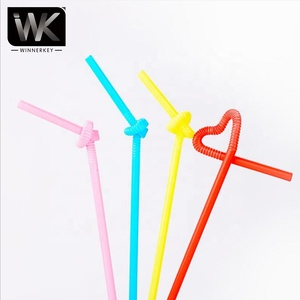 Beach color disposable plastic drinking water straw deformation coconut juice straw