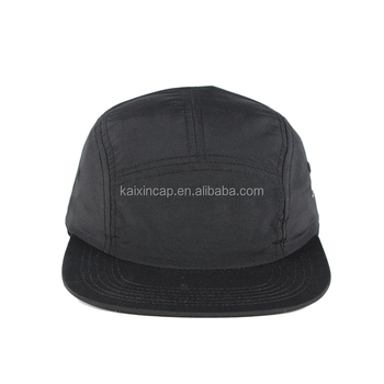 3739a3a514dc7 custom made top quality black colored nylon soft feel 5 panel camp caps
