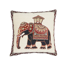 Wholesale jacquard elephant pillow wood furniture floor cushion cover
