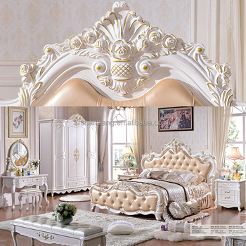 Luxury French Royal Wood Double Bed Designs King Size Bedroom Furniture Set