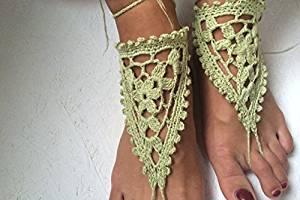 Beach Wedding Sandals,Green Wedding Accessory,Sexy Beach Sandals, Crochet Barefoot Sandals, Barefoot Sandals , Crochet Anklet, Sexy Lace Sandals,Beach,Wedding Footwear, Bridesmaid Sandals (Green-03)