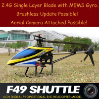 MJX F-Series F49 Single Blade Large 2.4G RC Helicopter 4 Channels with MEMS Gyro. Brushless Rotor & Camera Easy Update