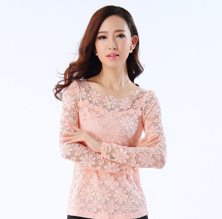 154eeb6a Get Quotations · Women Lace blouses tops plus size M-5XL 2015 Fall New Fashion  lace Hollow out