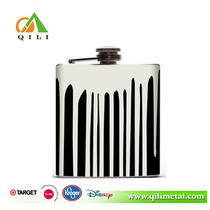 3oz stainless steel hot-sale black and white parttern hip flask