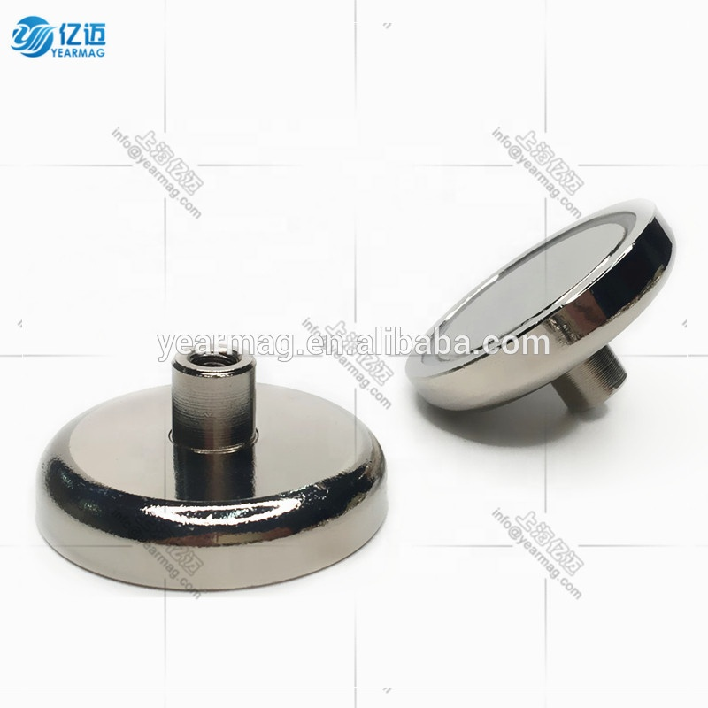 Hot selling D75mm 164kg 365lbs pull force neodymium pot magnet with protruding internal thread for Strong Holding Magnets