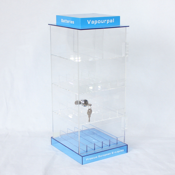 Customized Top And Bottom Blue Color Acrylic Smokeless Cigarettes Display E Juice Holder Rack Small