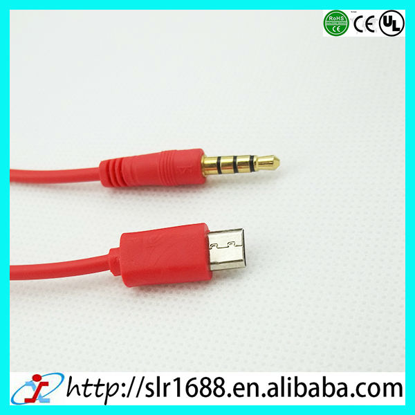 Gold Plated 3.5mm Car AUX Audio Micro USB Cable Cord for Samsung Galaxy S3 i9300 S4 i9500