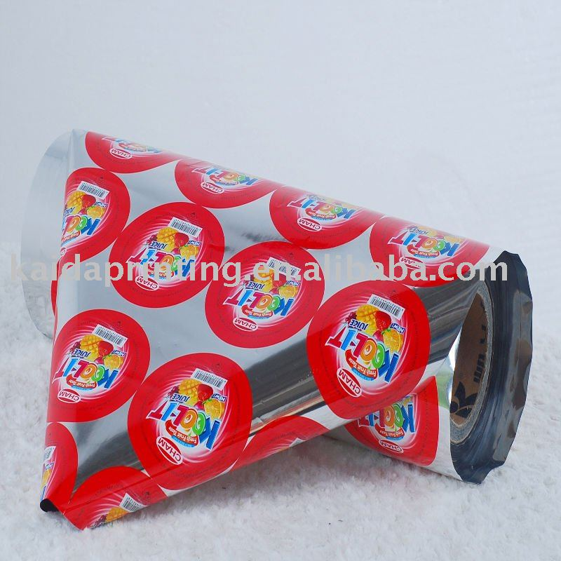 printed foil lid film roll for pp,pe,ps cups packing,easy to peel off,good barier