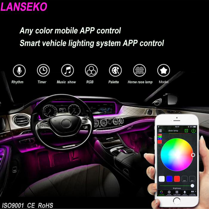 bluetooth led smart contrle intrieur lumire kit 12 w led de voiture clairage kit intrieur