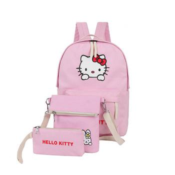 Dari cina pemasok lucu kartun hello kitty tas sekolah kanvas ransel untuk anak  perempuan remaja bercahaya 5e830a09b5