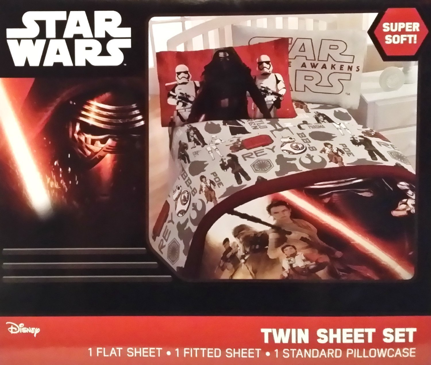 """Disney Star Wars Episode 7: The Force Awakens Twin Size Bed Sheets With Pillowcase Set. Includes: 1 Full Flat Sheet (66X96""""), 1 Full Fitted Sheet (39X75""""), 2 Pillowcases (20X30"""")."""