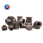 "plumbing products black tee malleable iron pipe fitting malleable reducing socket 1/2"" equal elbow npt thread nipple for oil"