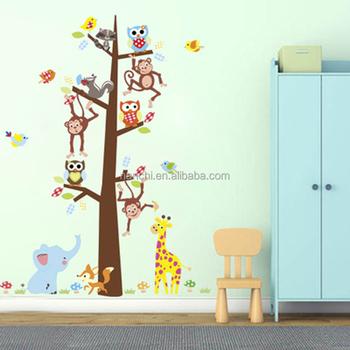 Kartun Hewan Hutan Monyet Burung Hantu Gajah Dinding Stiker Untuk