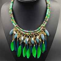 Collar Boho Chic Style Necklace American Indian Feathers Vintage Gypsy Tribal Ethnic Jewelry