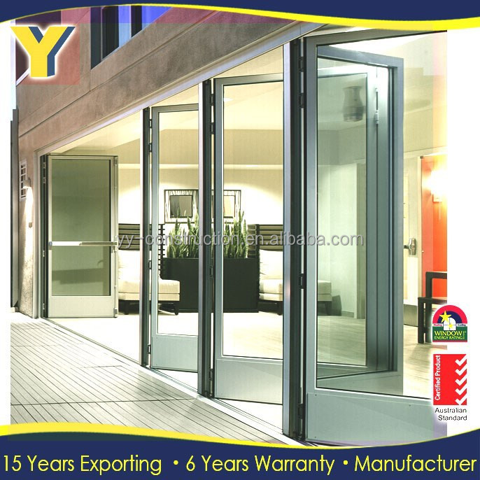 Exterior Louvered Door Glass Commercial Folding Doors Double Pane