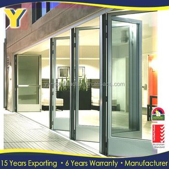 Exterior Louvered Door / Glass Commercial Folding Doors /double Pane Glass  Folding Door