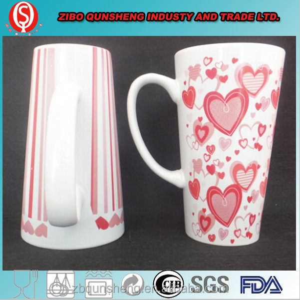 zibo manufacture stoneware mug v shape print mug for advertising promotion