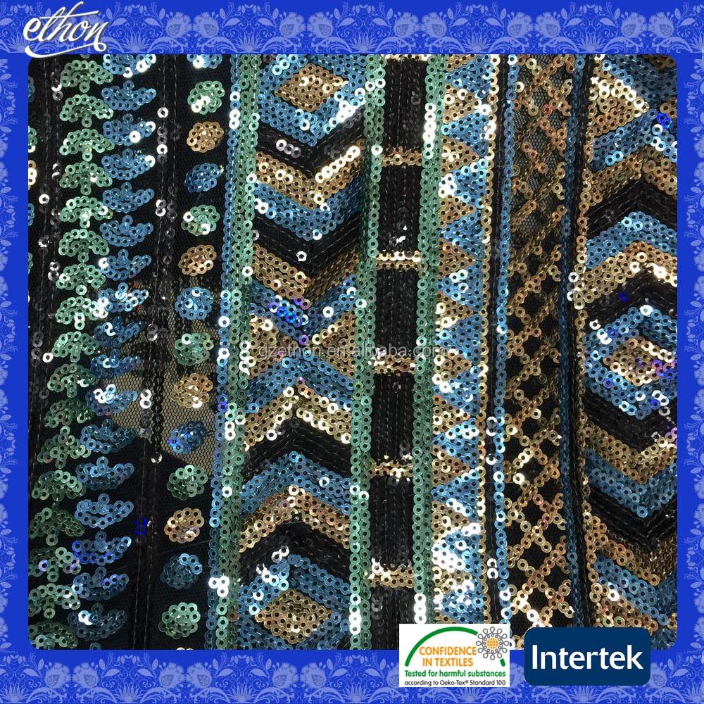 Canapé Multi Couleur à pas cher tissu africain multi couleur nylon mesh broderie sequin