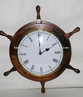 Antique finish wooden ship wheel hanging wall clock, wall clock, Nautical marine style clock