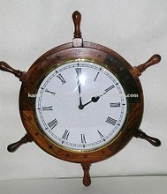 Antique finish wooden ship wheel hanging wall clock, wall clock, Nautical marine style clock