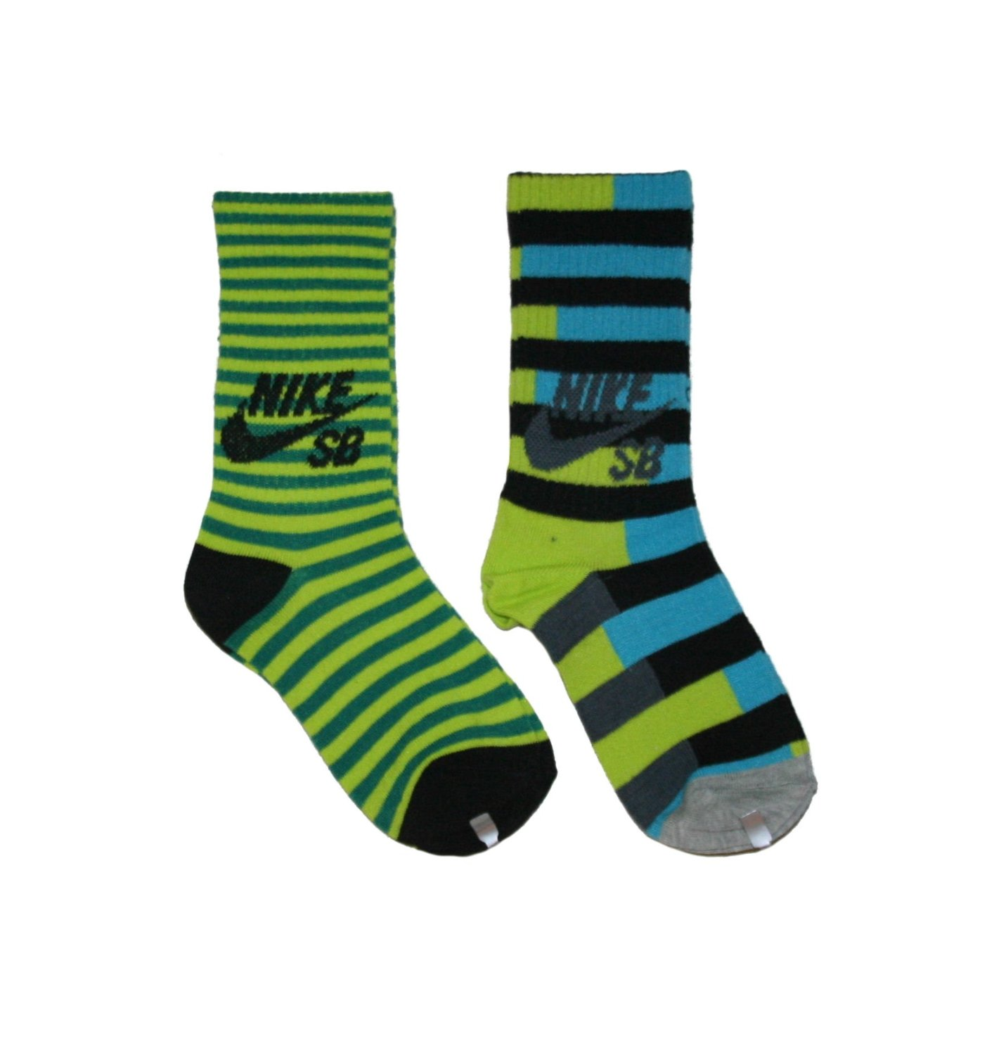 Nike SB 2 Pairs/Pack Boy's Crew Socks, Youth, Bright Green 3Y-5Y