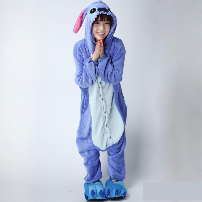 8351f41c224e Online Shop Free Shipping Pink Blue lilo Stitch Coral Fleece Adult Footie  Pajamas Onesie Animal