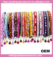 Pet Dog Cat Nylon Neck Necklace Stainless Bell Chain Collars Adjustable Strap