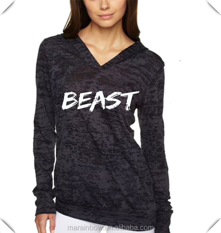3c2c086ab95 Lightweight Cotton   Polyester Womens Burnout Pullover Hoodie Printed V  neck Gym Workout Hoodies Custom Hoodies