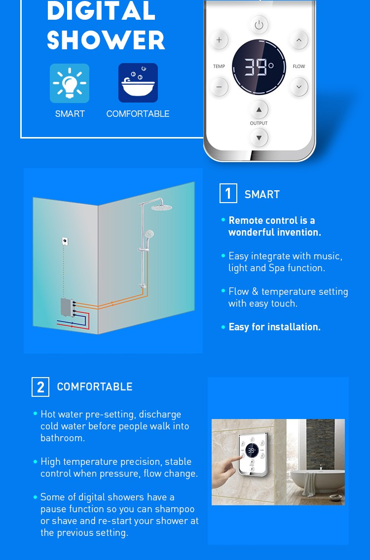 China Digital Shower Controller Hot Cold Water Mixer