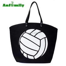 Large Sports Canvas Volleyball Tote Bag with faux leather clutch