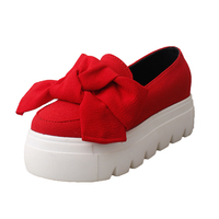 fabric high platform creepers big bow knots ladies slip on casual loafer shoes