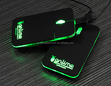 Corporate gifts custom led logo usb 3.0 mouse with ergonomic flat design