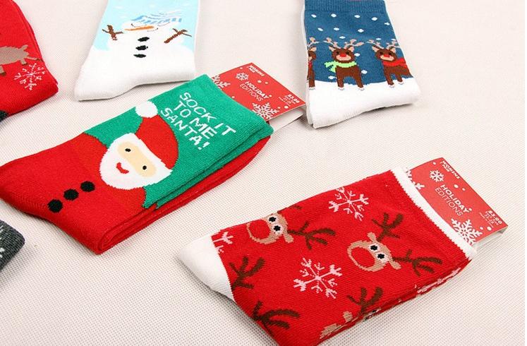 Мода новый 100% хлопок женщин женский рождественский подарок носки для спорта зимой осенью носок с, олень, снеговик 6 pairs / подарочная коробка