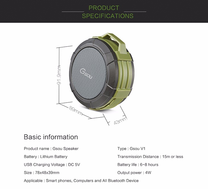 Alibaba best seller IPX5 mini outdoor round shape waterproof bluetooth speaker with gift package