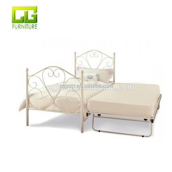 Iron Metal Bed With Under Bed Frame With Wooden Slats Bed Base - Buy ...