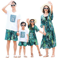 2019 new design korean casual summer beach family matching outfits clothing