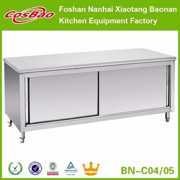 stainless steel commercial kitchen cabinet storage work bench gridmann prep table w backsplash used tables