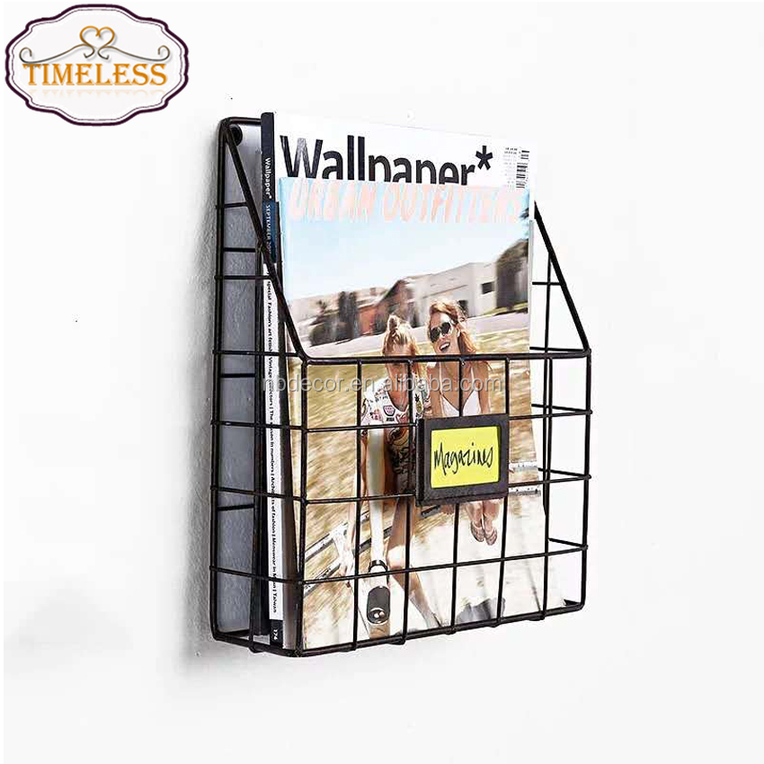 Wire Wall Mount Hanging File Folder Display Mail Organizer Document Storage Magazine Rack