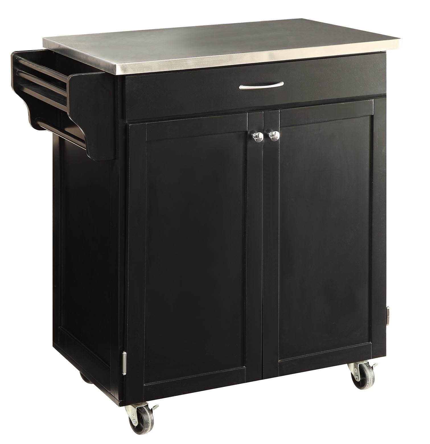 "Oliver and Smith - Nashville Collection - Mobile Kitchen Island Cart on Wheels - Black - Stainless Steel Top - 33"" W x 18"" L x 36"" H"
