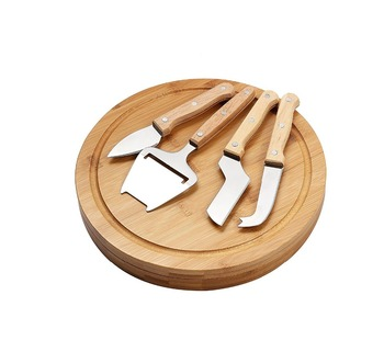 Round shape bamboo slid cover cheese board with knife sets