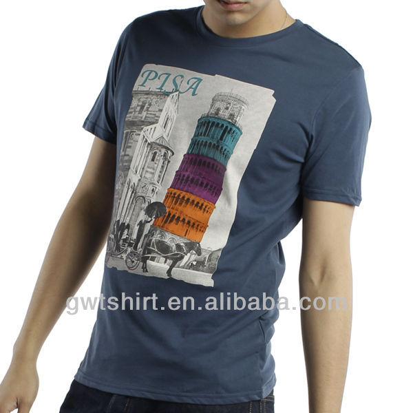 Custom cheap cotton mens suit printed tshirt
